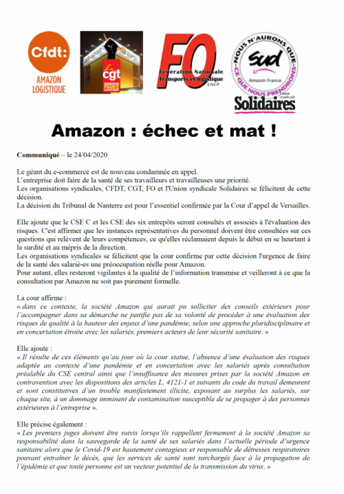 Confirmation en appel de la condamnation d'Amazon