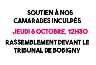 """Répression contre les syndicalistes pendant la """"Loi Travail"""" : rassemblement à Bobigny jeudi 6 octobre"""