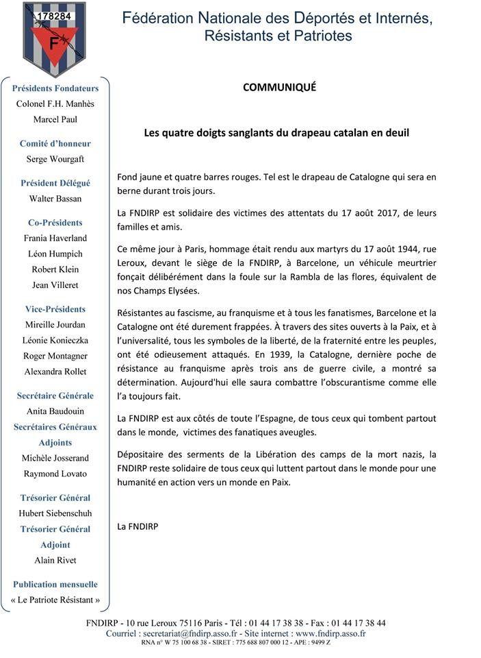 Le Cercle Jean Moulin se joint à la FNDIRP concernant les attentats de Barcelone et Cambrils