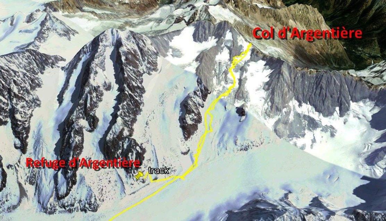 Ski de randonnée : col d'Argentière : 3552 m