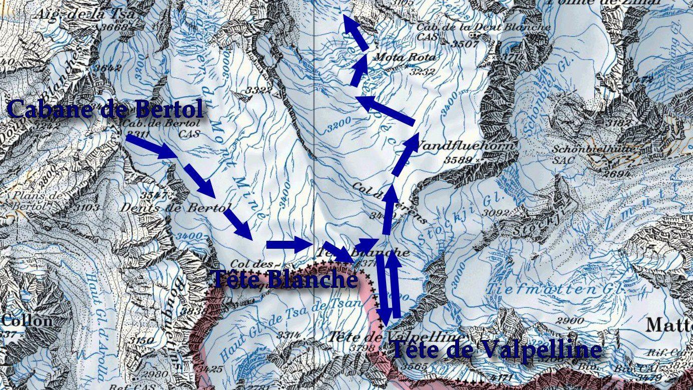 Ski de randonnée : Tête Blanche  3710 m- Tête de Valpelline  3798 m - descente par le glacier de Ferpècle