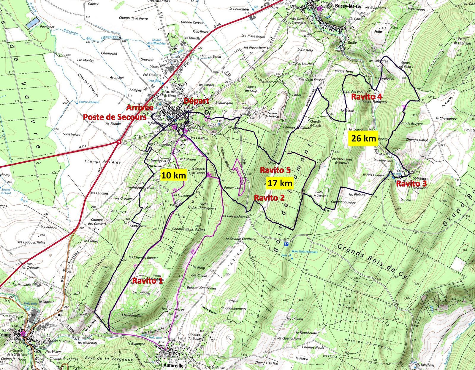 parcours trail des Monts de Gy 2014 - source Geoportail IGN -
