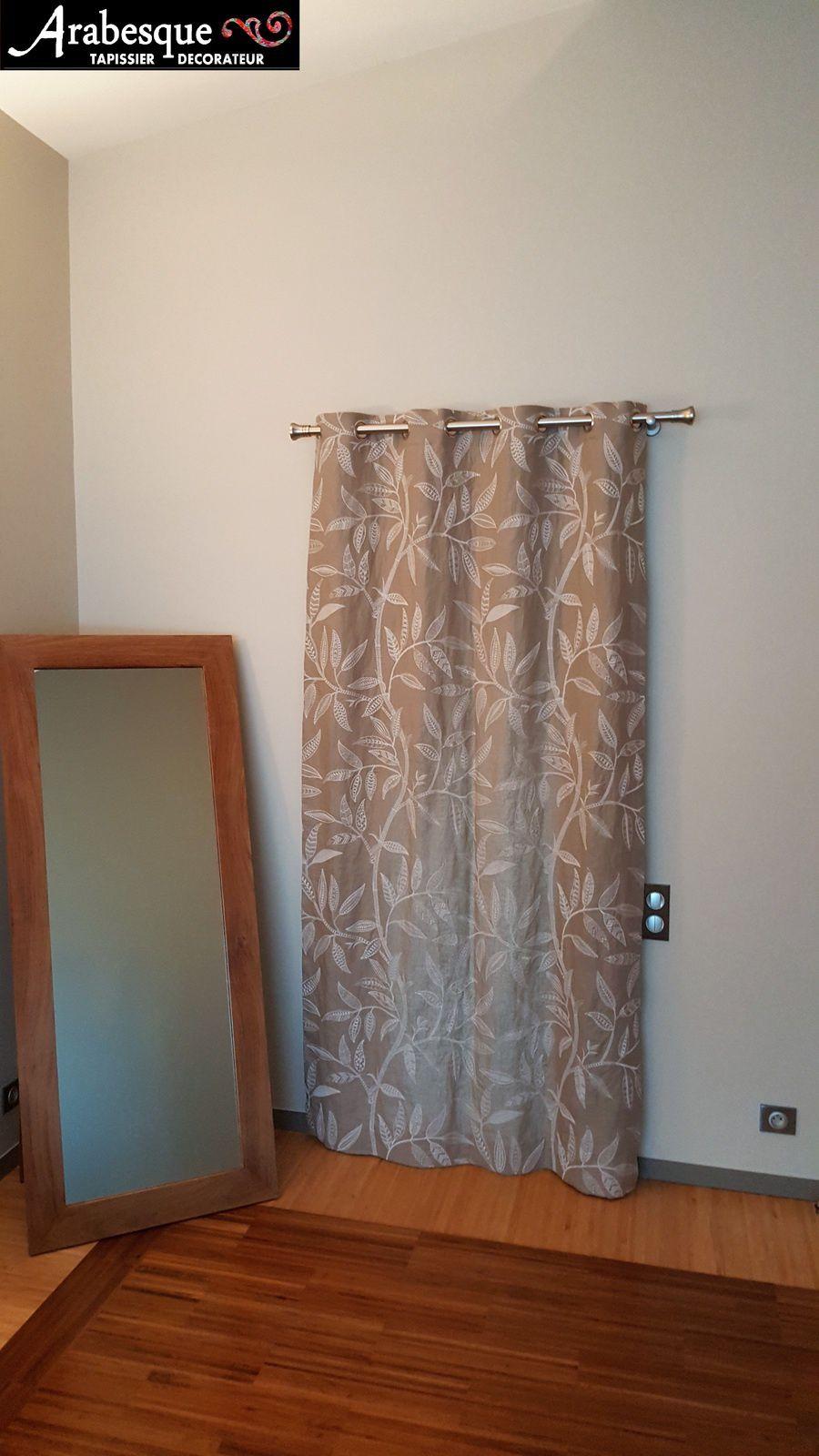 installation tringle et confection rideau lin brodé arabesque