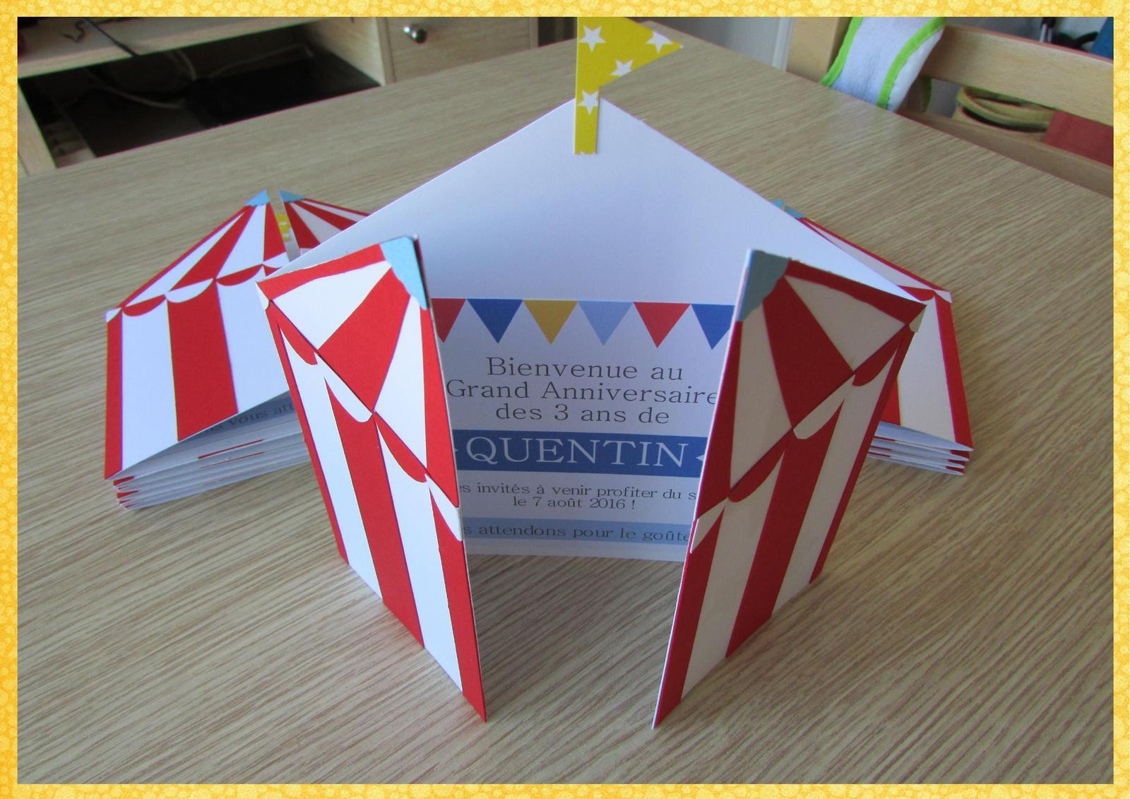 Carte d'invitation anniversaire Quentin thème cirque