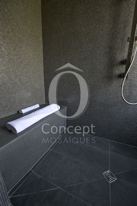 Ô Concept Hammam, steam room mosaic glass tiles, marron café mosaique