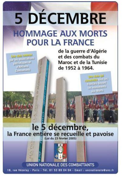 5 décembre : hommage aux Morts pour la France