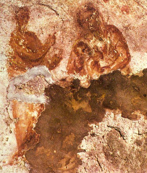 La Vierge Marie allaitant Jésus et le prophète Balaam - Catacombe de Priscille de Rome (IIe siècle)