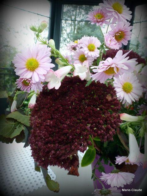 Bouquet rose de fin de saison,                                                                                                                                                                                                                                                                                          de fin octobre,