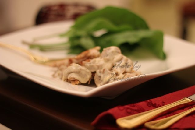 Escalopes de poulet aux champignons (Chicken cutlet with fresh mushroom)