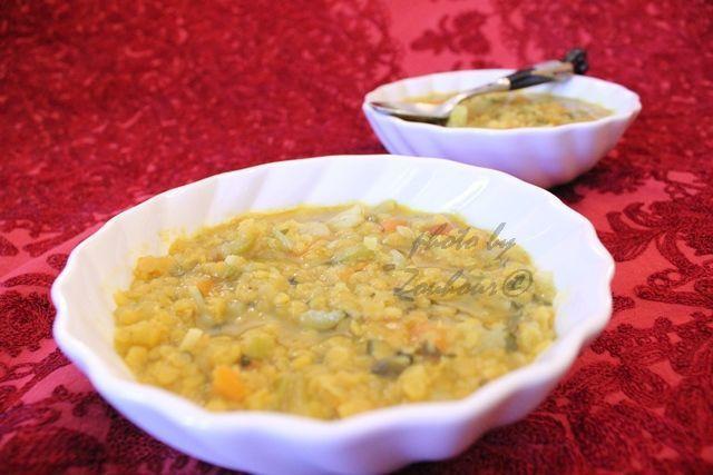 Soupe de lentilles corail aux légumes,Vegetarian Red lentil soup