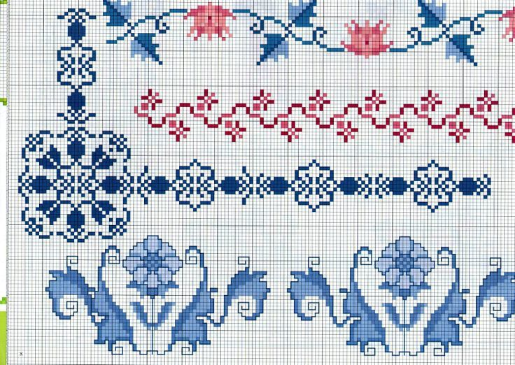 Point De Croix Bordure Fleur Roses Le Blog De Hanim