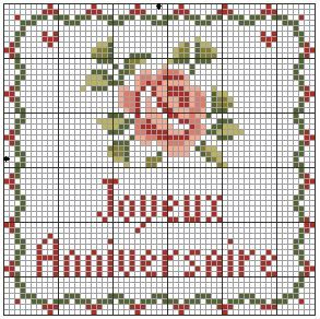 Point de croix bordure fleur roses le blog de hanim - Grilles point de croix gratuites dmc ...