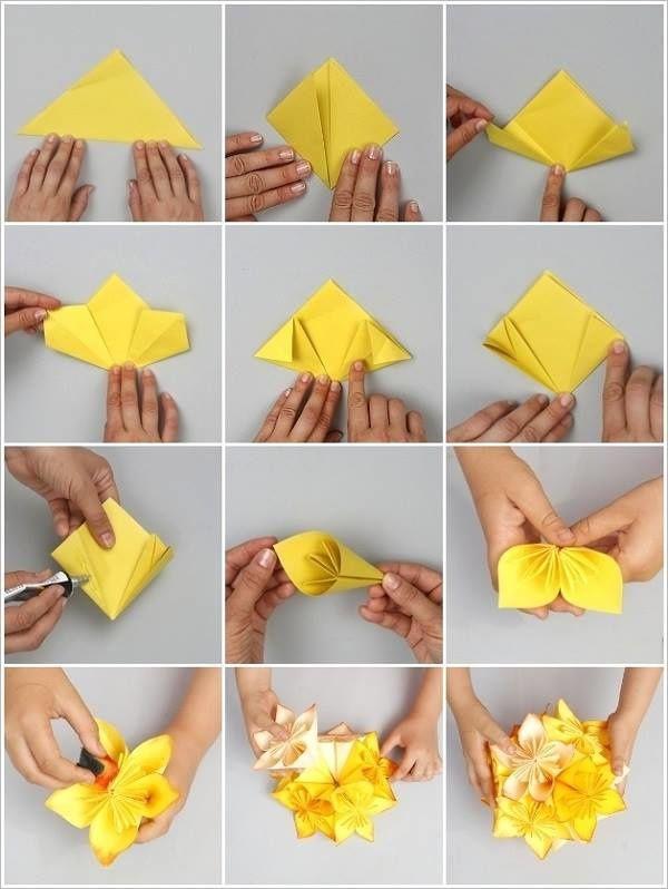 Réalisation des fleurs avec du tissu (sur le net)