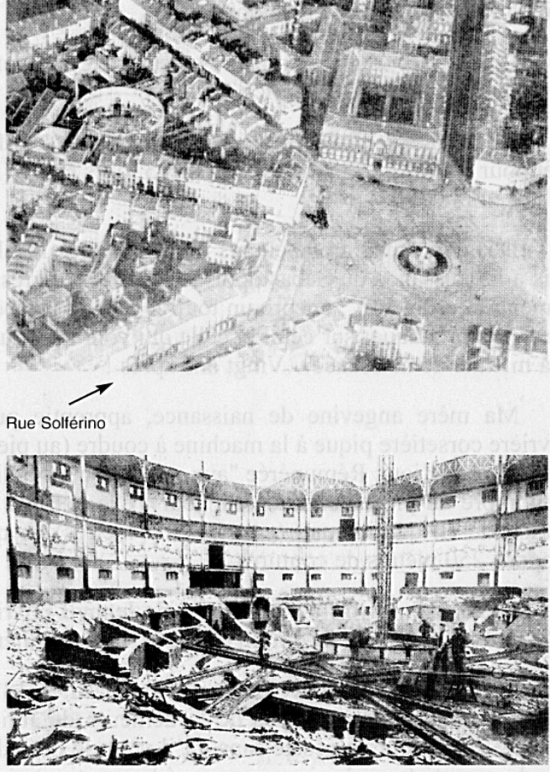 en haut :l 'emplacement en 1933 de l'hippodrome au 39 rue Nicolas Leblanc. en bas l'établissement en cours de démolition