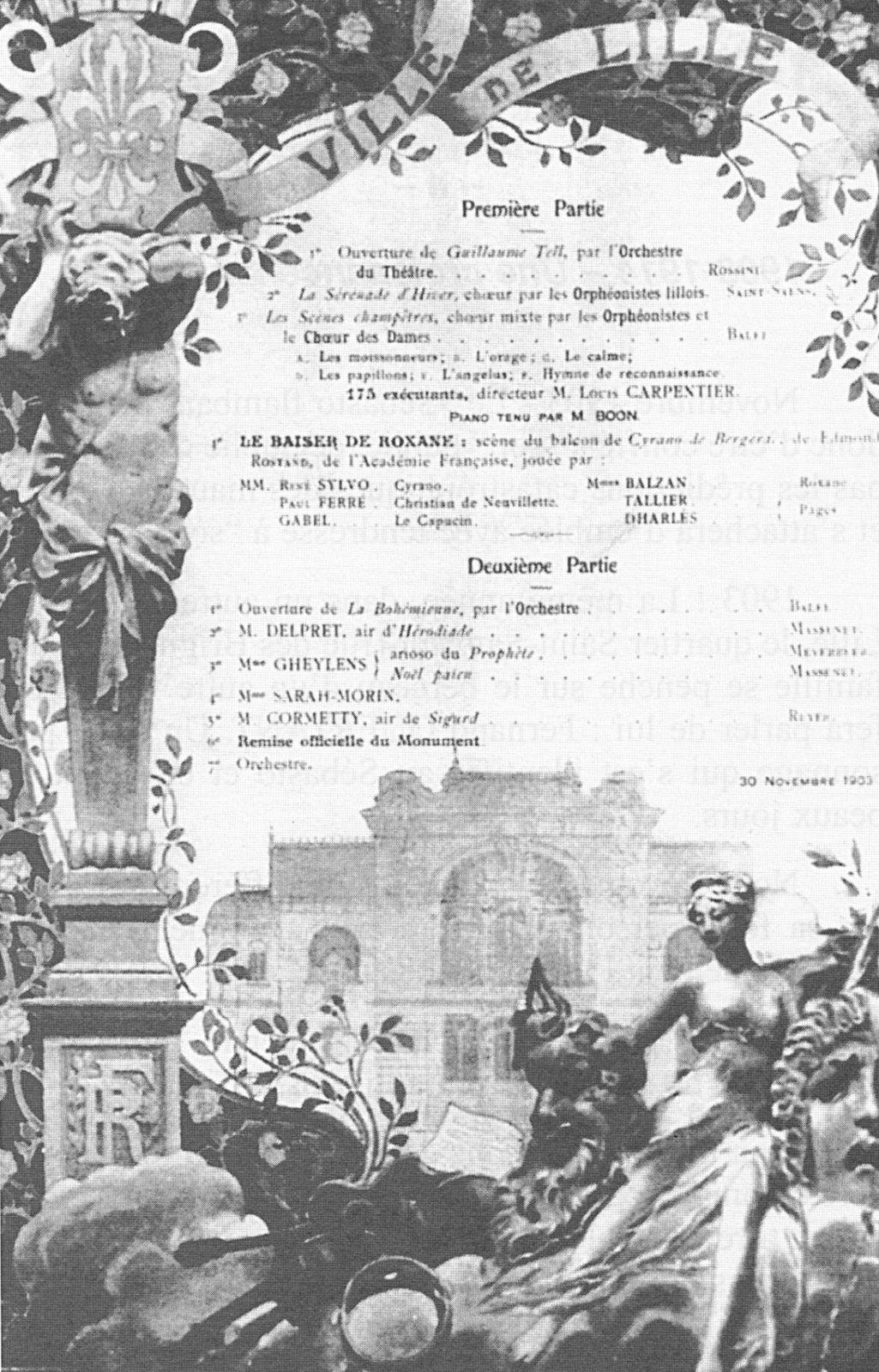 Programme du concert inaugural le 30 novembre 1903
