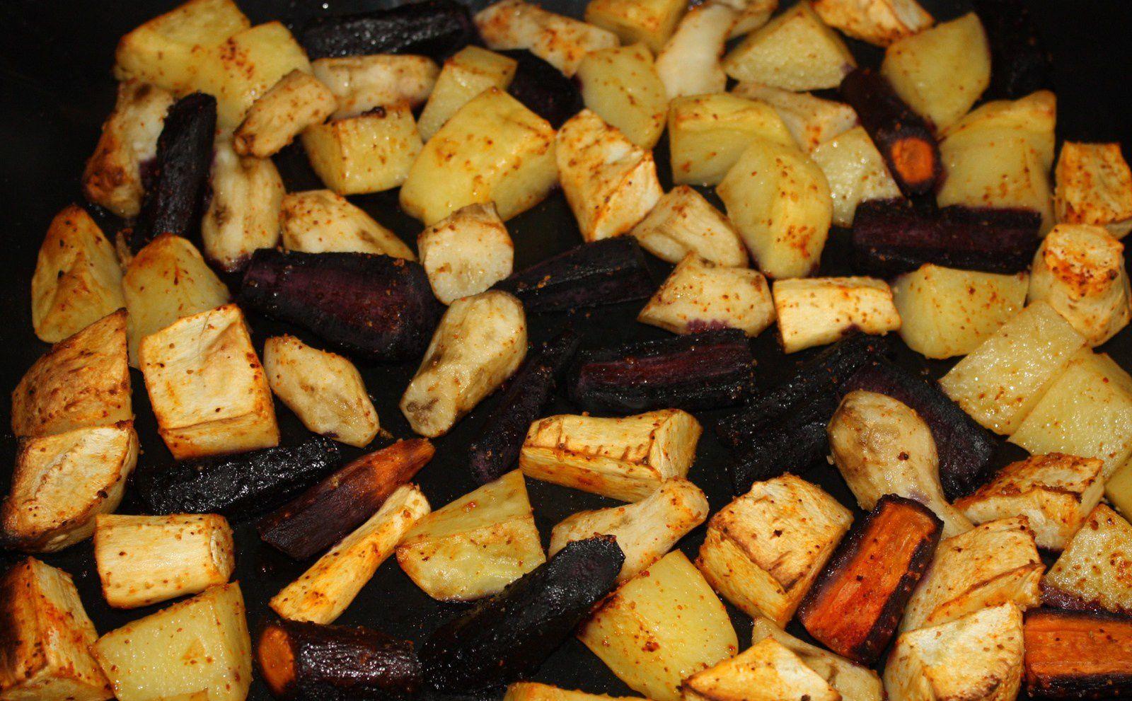 1 préparation/2 recettes: Légumes rôtis &amp&#x3B; tarte aux légumes rôtis
