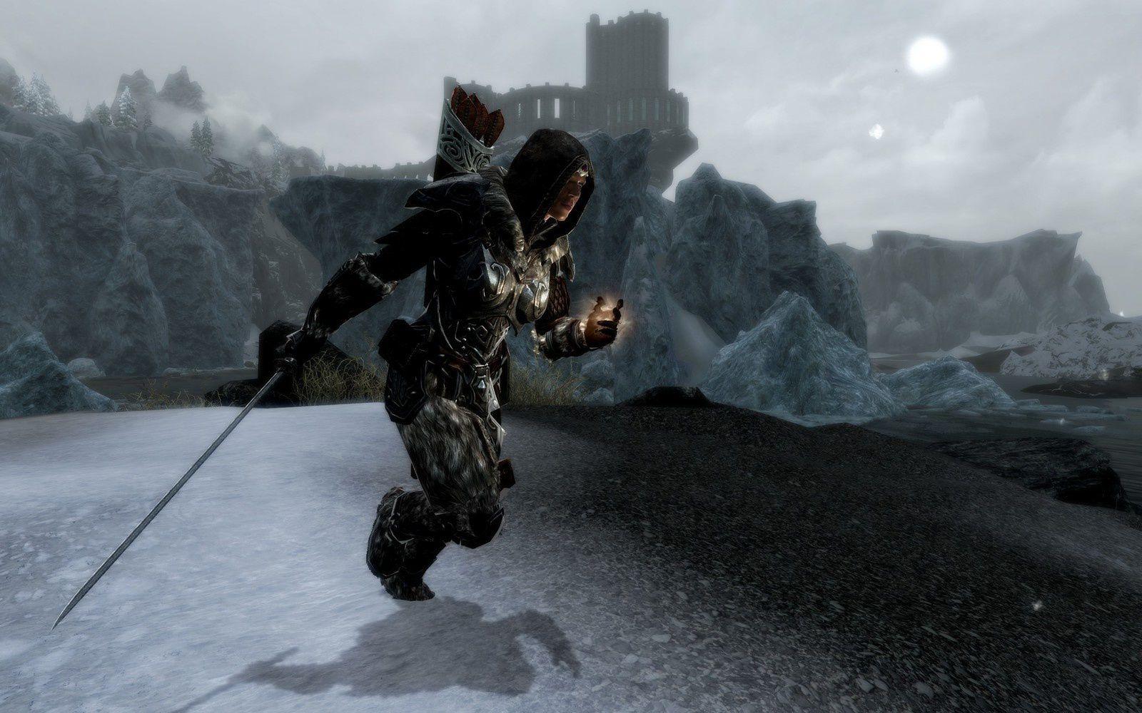 Un autre exemple pendant la course. Remarquez la position de l'épée à une main.
