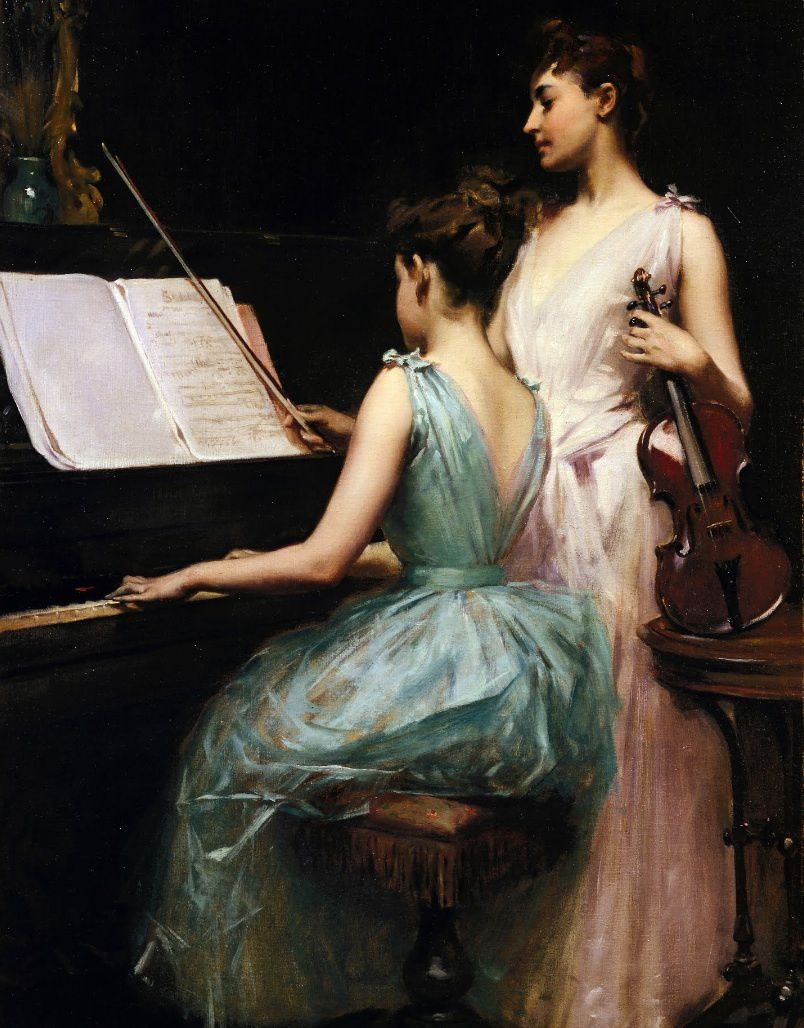 Irving Ramsey Wiles (1861-1948), The sonata, Oil Painting, 1889.