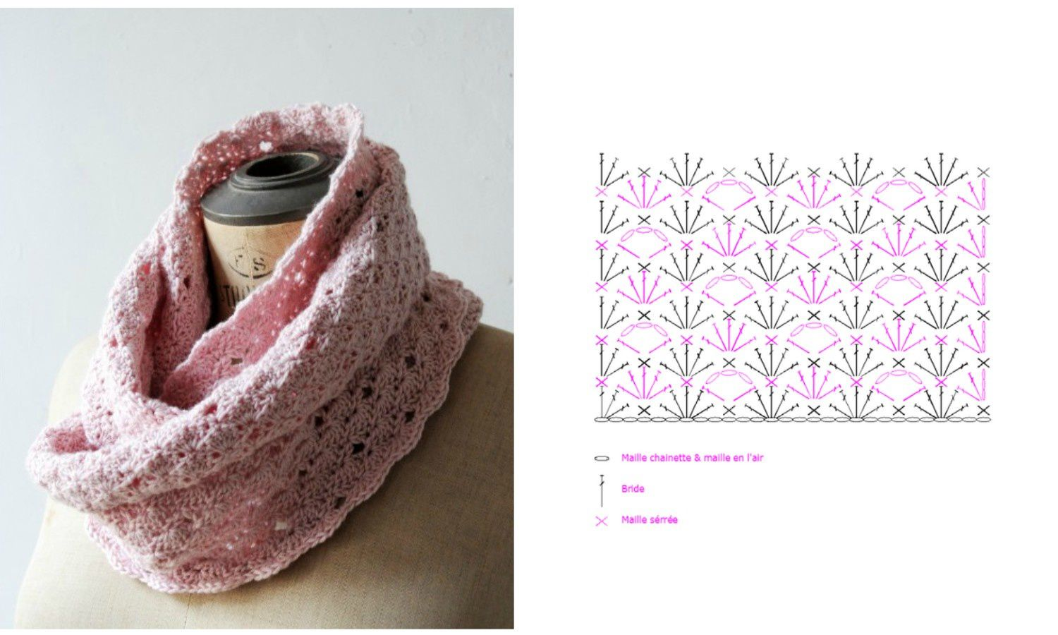 Snood rose poudré