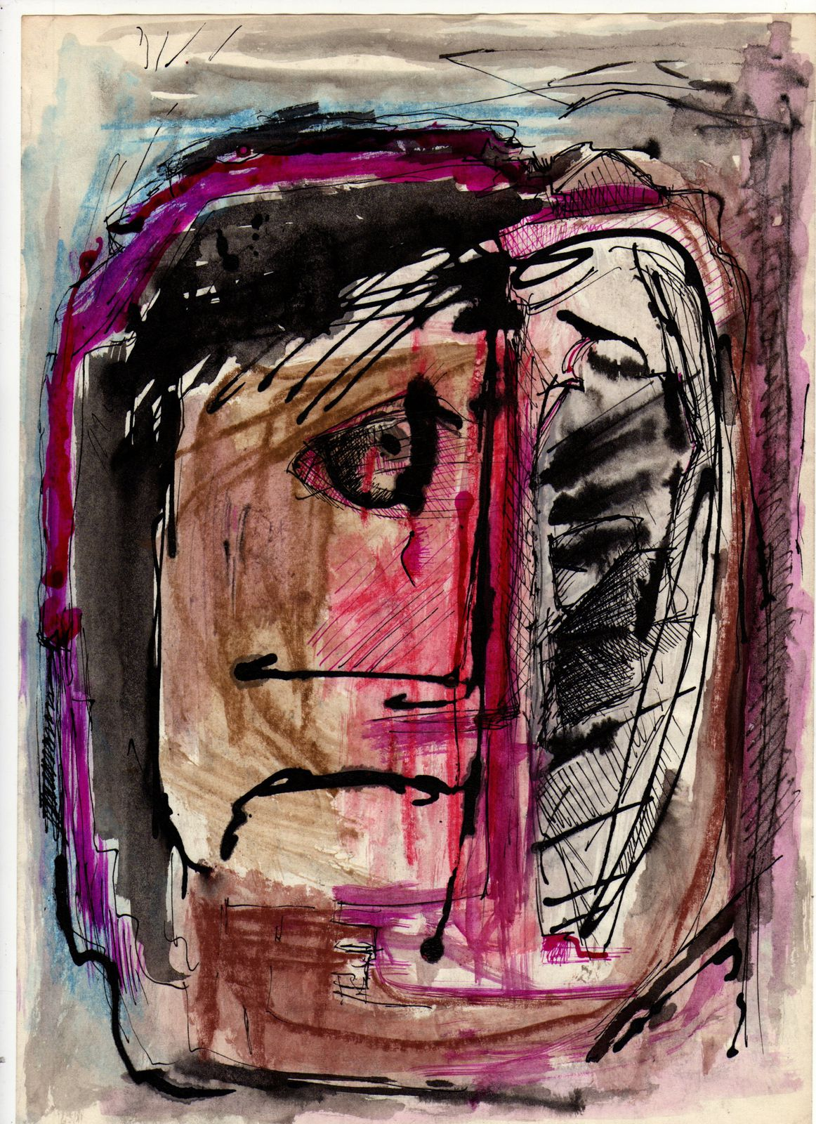 Faces 1 1990 21 30 cm ink on paper autors certificate and signature becarelli count dussi art gallery wien the best of modern art world