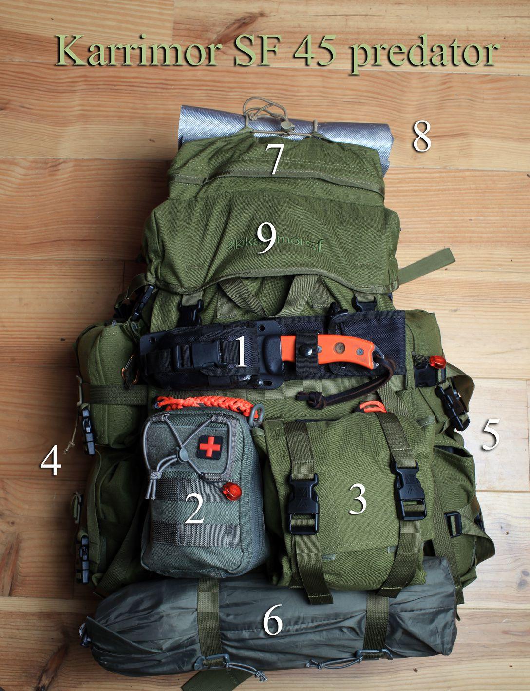 1- ESEE 5 / 2- Trousse de secours avancée/ 3- Omni pouch Karrimor/ 4- Side Pocket Karrimor / 5- Side Pocket Karrimor / 6- Tarp / 7- Poche somitale / 8- Morceau de tapis de sol / 9- Compartiment principal.