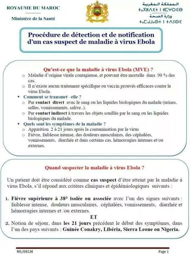 PROCEDURE DE DETECTION ET DE NOTIFICATION D'UN CAS SUSPECT D'EBOLA AU MAROC