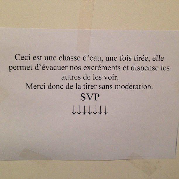 Humour mots dans les toilettes - Monter une chasse d eau ...
