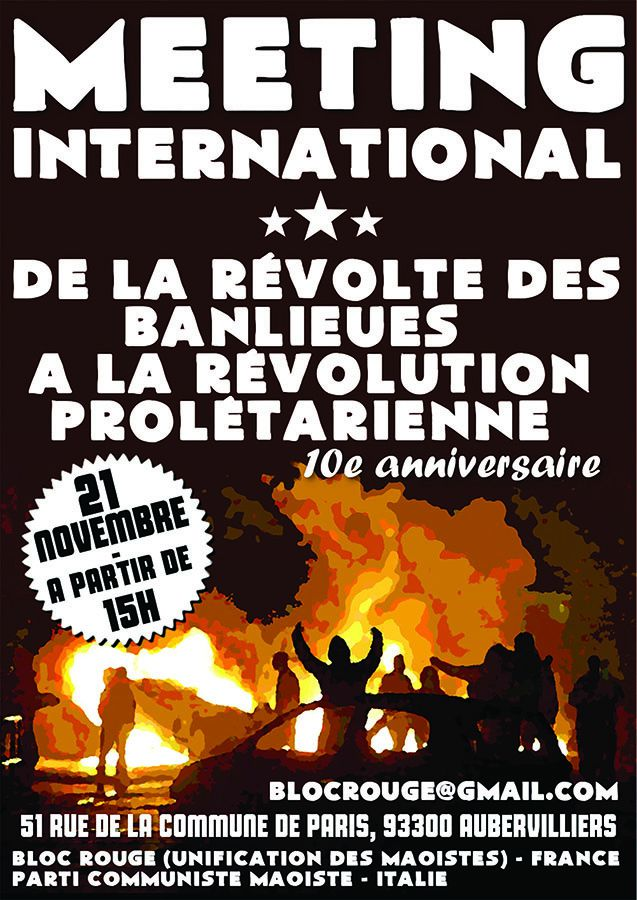 Meeting international &quot&#x3B;De la révolte des banlieues à la révolution prolétarienne !&quot&#x3B;
