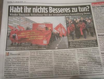 Allemagne : « Gloire et honneur à nos morts - la manifestation Lénine-Liebknecht-Luxemburg de 2016