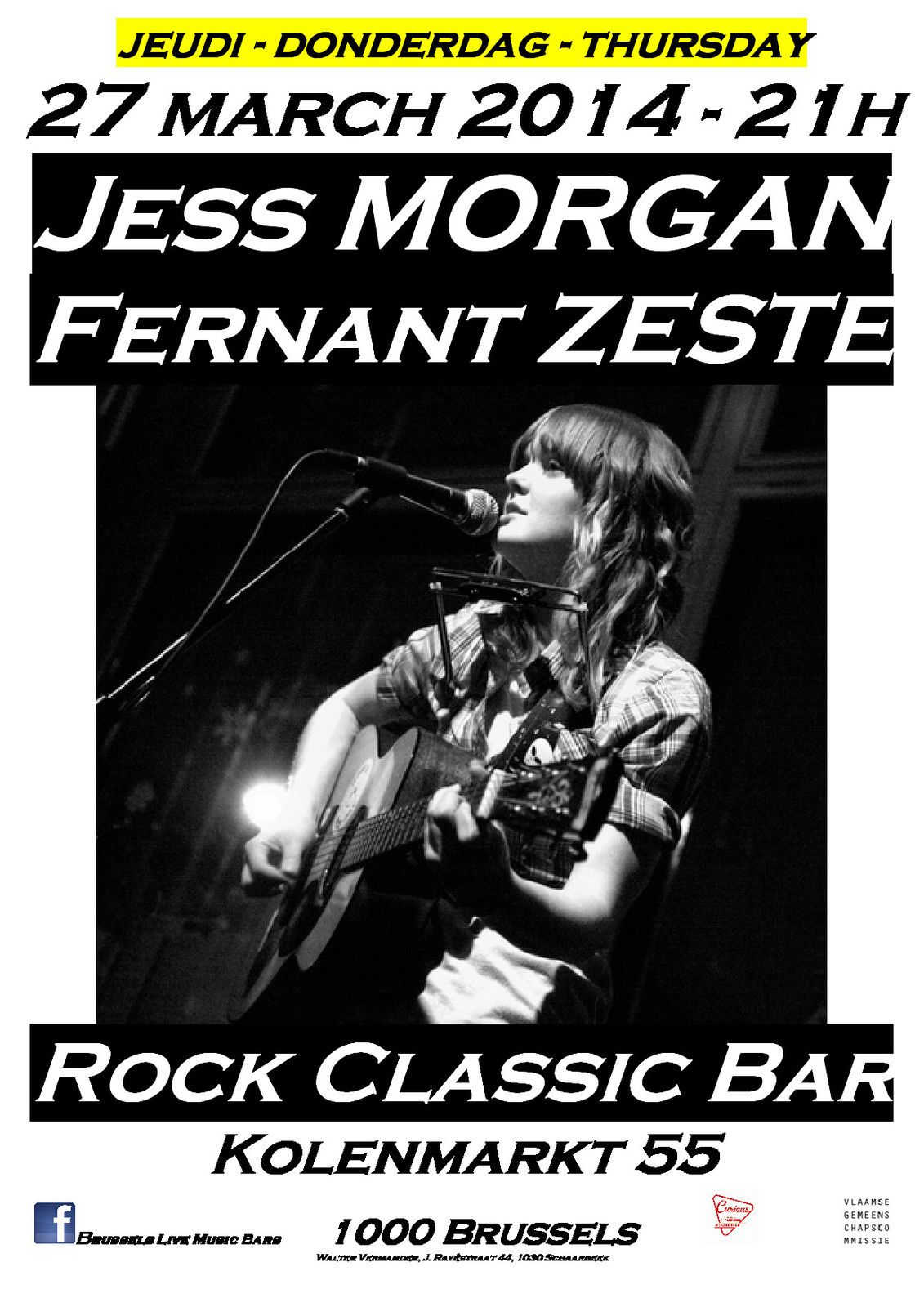 Jess Morgan (UK) + Fernant Zeste @ Rock Clasic - 27/03/2014 - 20h30 - Entrée gratuite !