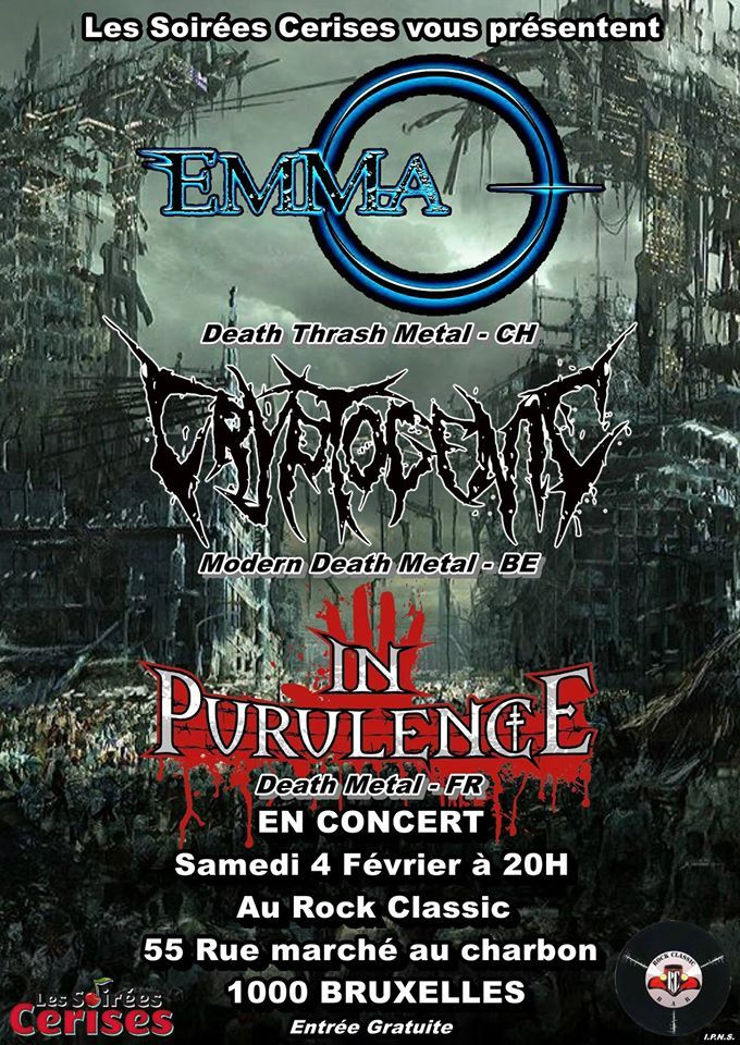 ▶ Emma-O (CH) + Cryptogenic + In Purulence (F) @ Rock Classic - 04/02/2017 - 21h00 - Entrée gratuite !