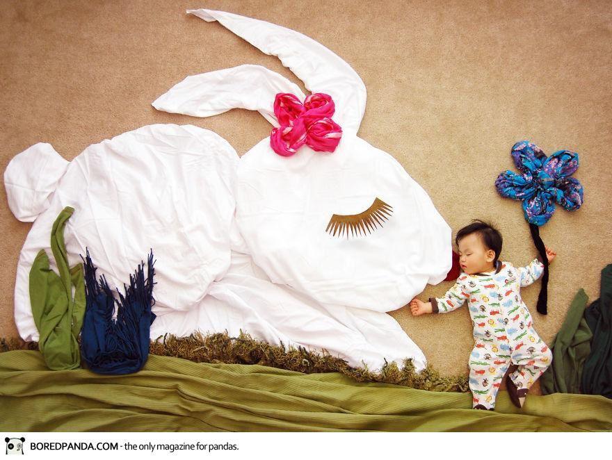 Vu chez les autres #45: un bébé + beaucoup d'imagination = de merveilleux tableaux!