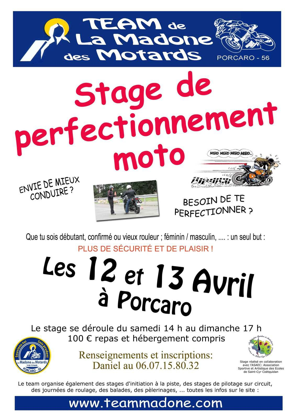Stages initiation piste et perfectionnement moto!