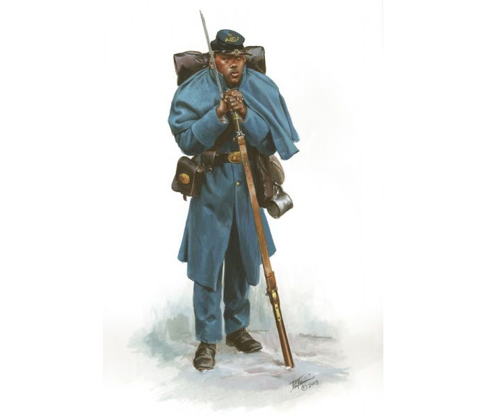 un soldat du 4th régiment des USCT (Don Troiani)