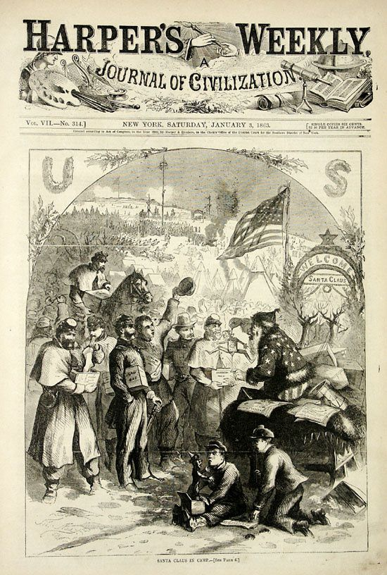Santa Claus visitant les troupes par le journal de New-York le Harper's Weekly