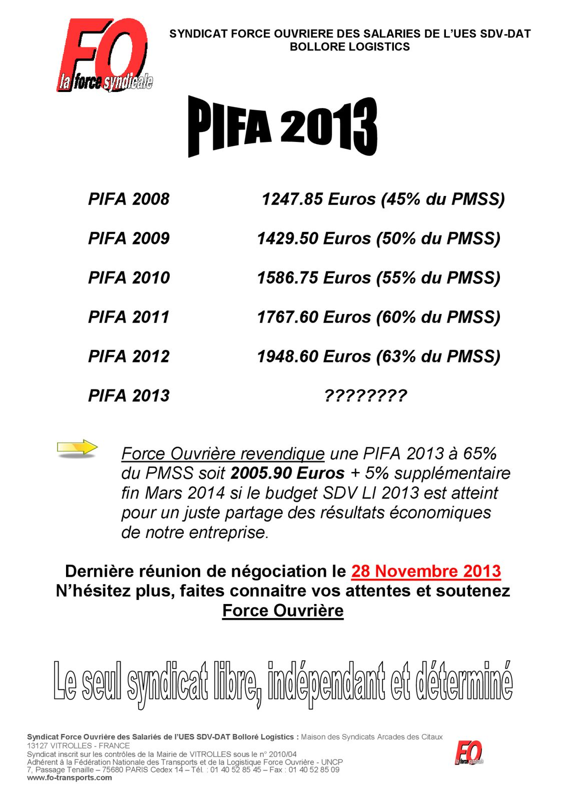 PIFA : réunion supplémentaire le 28/11