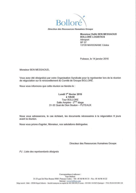 Négociation renouvellement Comité de Groupe Bolloré