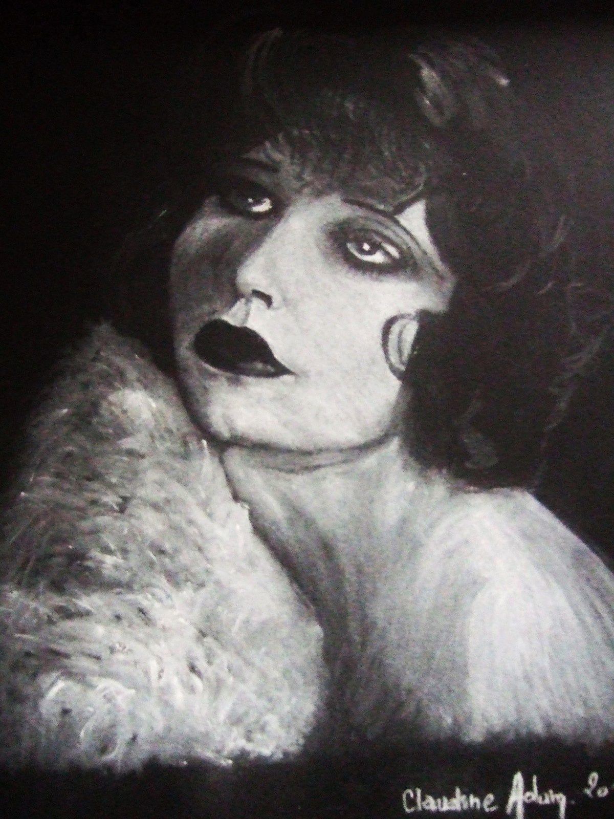 Clara Bow crayon pastel blanc sur feuille dessin noire 50% coton .