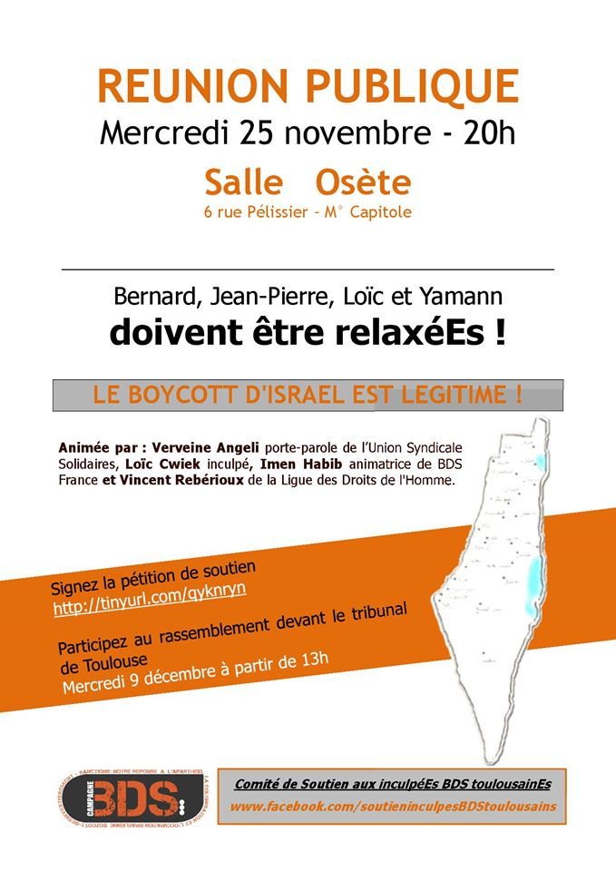 BDS - Réunion publique : Bernard, Jean-Pierre, Loïc et Yamann doivent être relaxéEs !