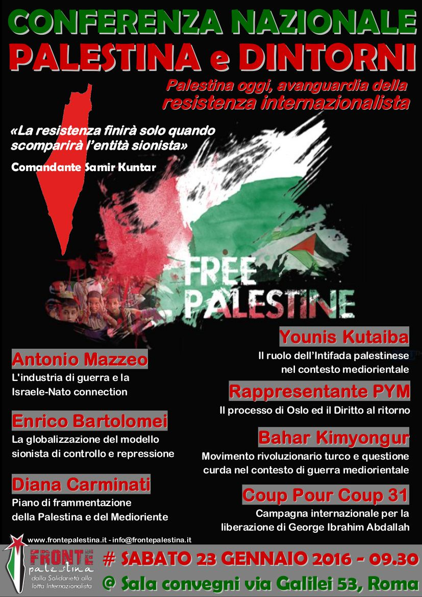 Conférence sur la Palestine et Georges Abdallah à Rome