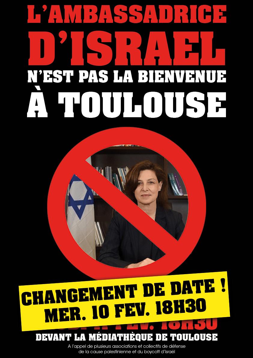 L'ambassadrice de l'Etat d'Israël n'est pas la bienvenue à Toulouse !