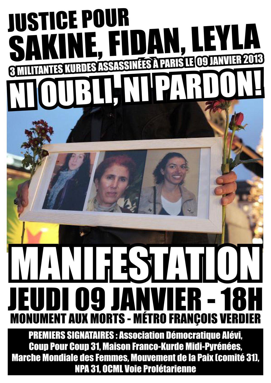 Manif le 09 janvier : justice pour Sakine, Fidan et Leyla !