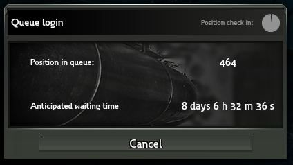 Queue Login - Anticipated waiting time