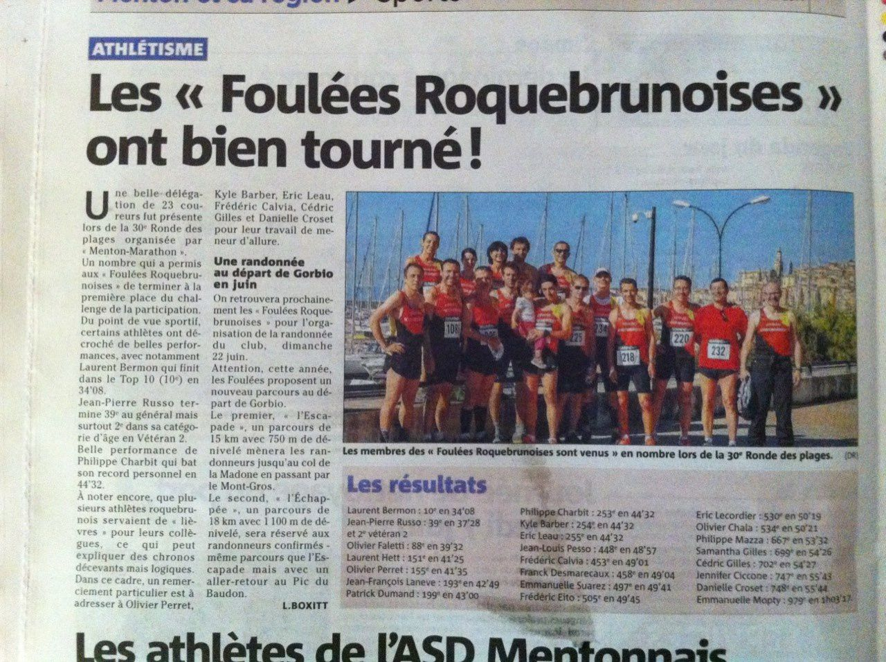 Article Nice-Matin Ronde des Plages