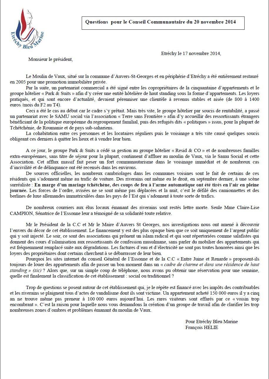 Etrechy Bleu Marine interroge Mr RAGU, président de la C.C &quot&#x3B;entre juine et renarde&quot&#x3B; sur le Moulin de Vaux