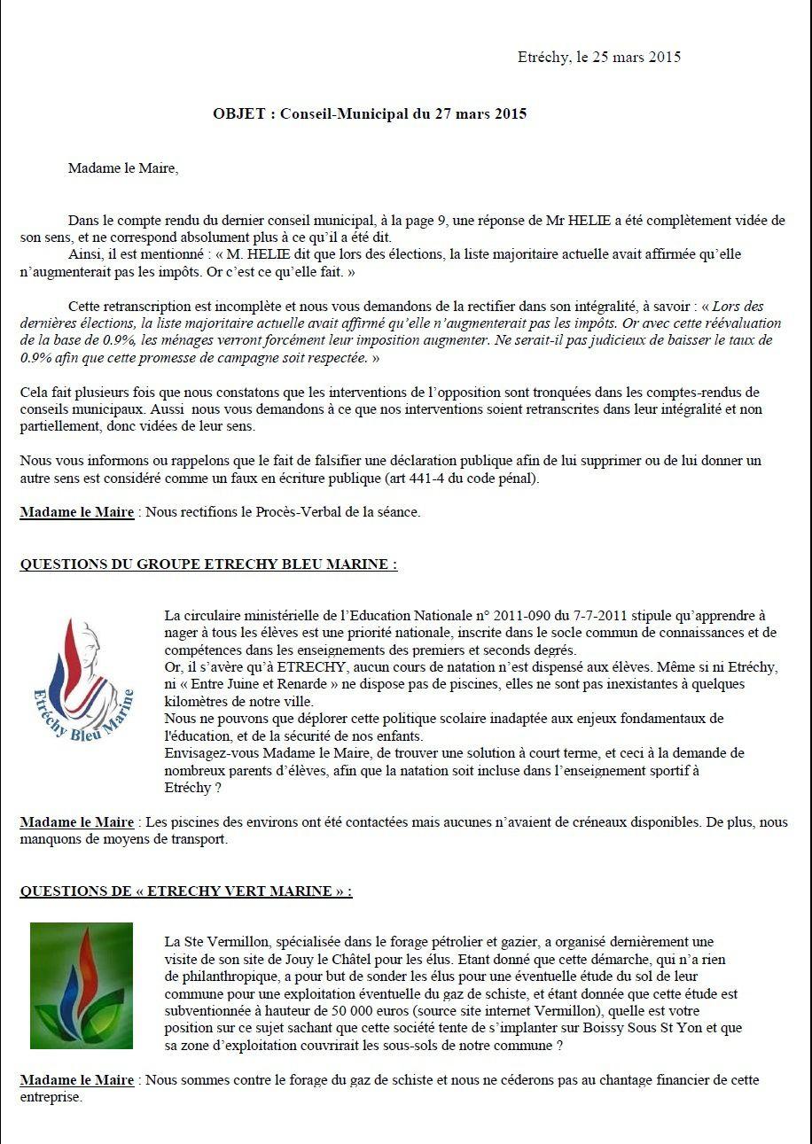 Réponses de Mme le Maire aux questions d'Etréchy Bleu Marine lors du conseil municipal du 27/03/2015