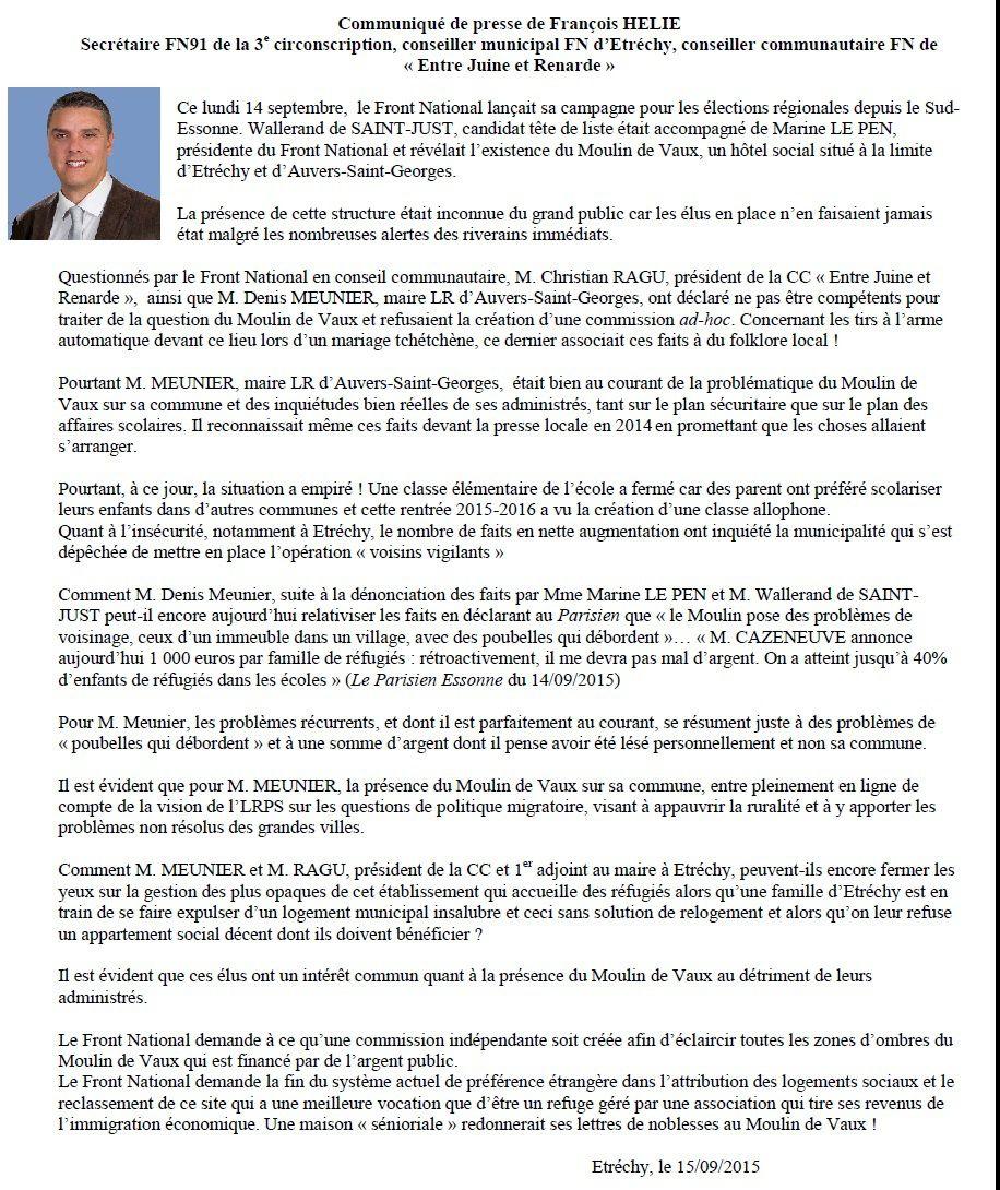 Communiqué de presse de François HELIE suite aux déclarations de M. MEUNIER, maire d'AUVERS ST-GEORGES