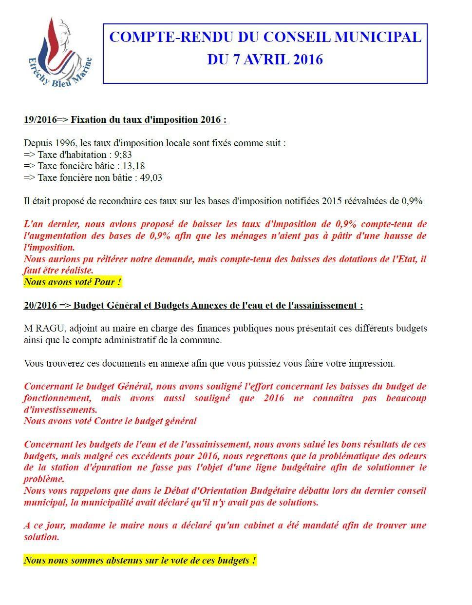 Compte-Rendu du conseil municipal du 7 avril 2016
