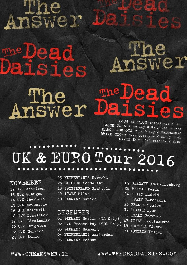 THE ANSWER will be on tour with THE DEAD DAISIES