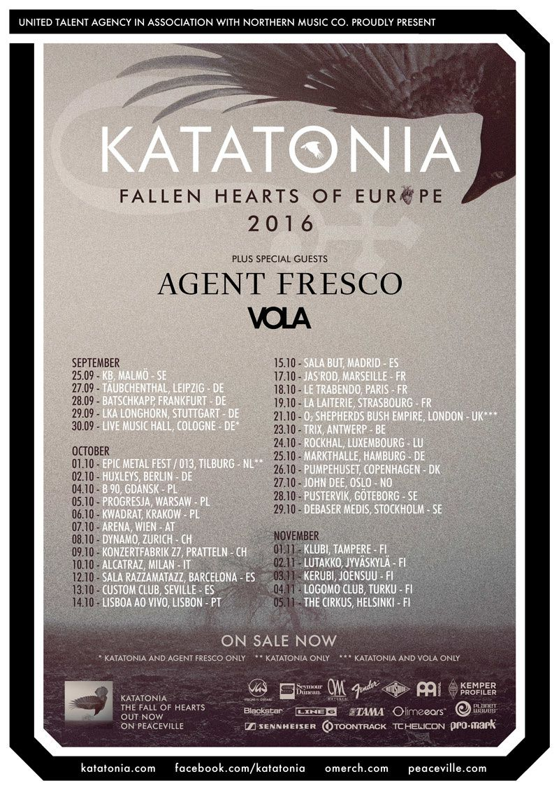 KATATONIA tour dates for Europe